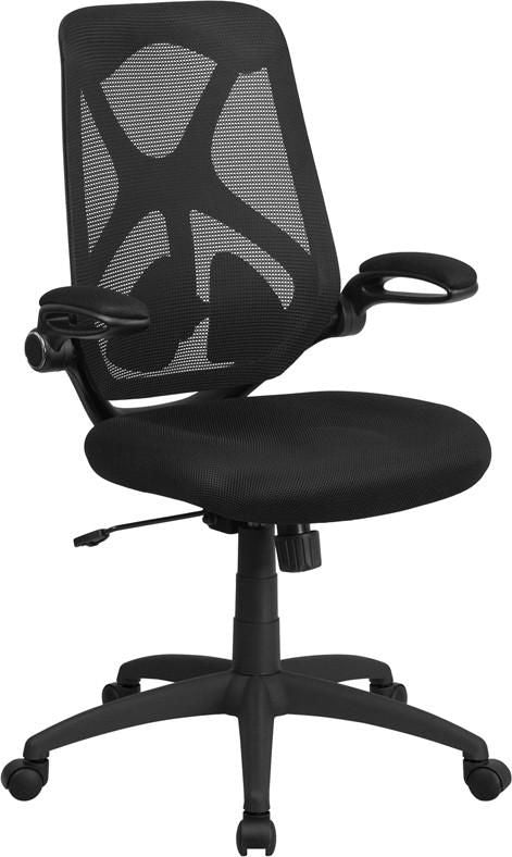High Back Black Mesh Executive Swivel Office Chair With Padded Seat  Adjustable Lumbar 2 Paddle