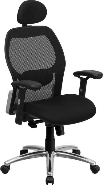 High Back Black Super Mesh Executive Swivel Office Chair With Padded Seat And Knee Tilt Control