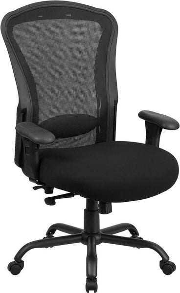 Series 24/7 Intensive Use Multi-Shift Big & Tall 400 Lb. Capacity Black Mesh Multi-Functional Swivel Chair With Synchro-Tilt Office