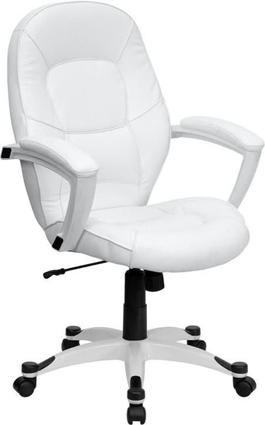 Mid-Back White Leather Executive Swivel Office Chair