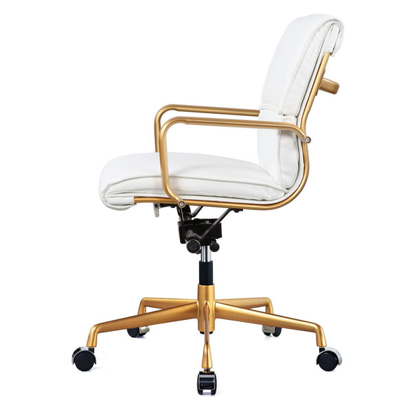 Meelano Office Chair In Gold And White Vegan Leather 330