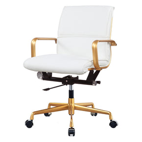 Office Chairs - Meelano 330-GD-WHI Office Chair In Gold and White Vegan Leather | 035127436067 | Only $229.80. Buy today at http://www.contemporaryfurniturewarehouse.com