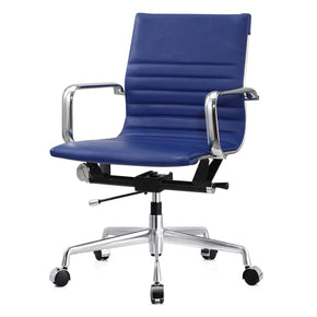 Modern Office Chair In Blue Vegan Leather
