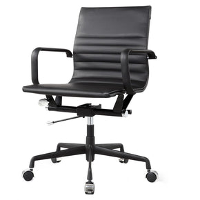 Office Chairs - Meelano 348-DRK Modern Office Chair In All Black Vegan Leather | 035127436326 | Only $199.80. Buy today at http://www.contemporaryfurniturewarehouse.com