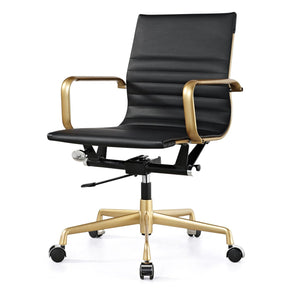 Office Chairs - Meelano 348-GD-BLK Office Chair In Gold And Black Vegan Leather | 035127435817 | Only $199.80. Buy today at http://www.contemporaryfurniturewarehouse.com