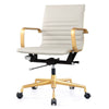 Office Chair In Grey Vegan Leather And Gold