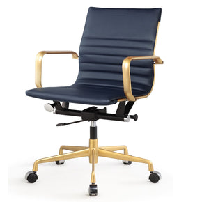 Office Chairs - Meelano 348-GD-NVY Office Chair In Gold And Navy Vegan Leather | 035127435640 | Only $199.80. Buy today at http://www.contemporaryfurniturewarehouse.com