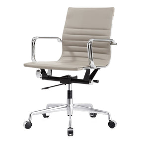 Modern Office Chair In Grey Vegan Leather
