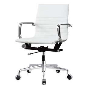 Modern Office Chair In White Vegan Leather