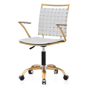 Office Chairs - Meelano 356-GD-WHI Office Chair In Gold And White | 035127436609 | Only $144.80. Buy today at http://www.contemporaryfurniturewarehouse.com