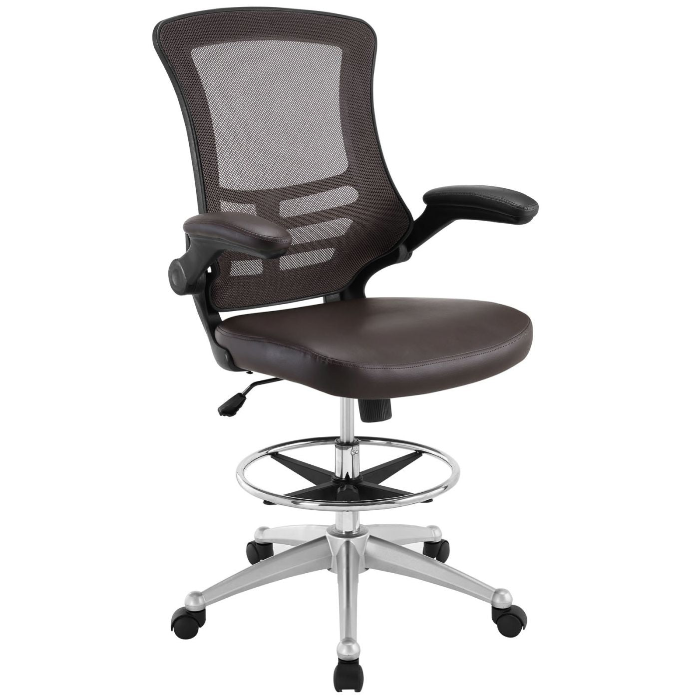office drafting chair. Attainment Faux Leather Drafting Chair Brown Office
