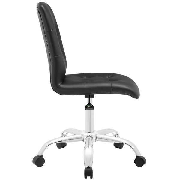 modway eei 1533 whi prim modern armless mid back office chair padded