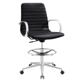 Groove Ribbed Back Drafting Chair Black Office