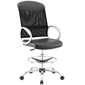 Emblem Mesh And Vinyl Drafting Chair Black Office