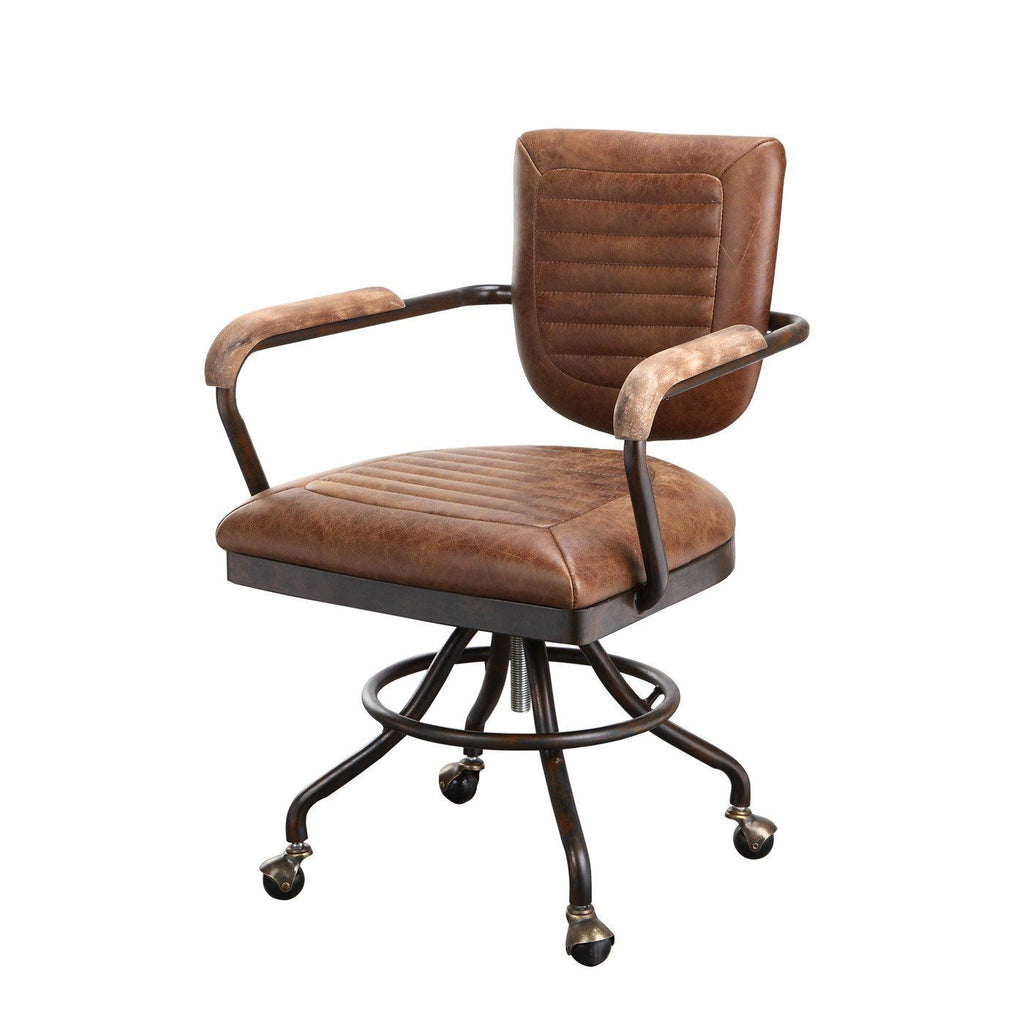 Industrial office chair Leather Foster Desk Chair Soft Brown Top Grain Leather Plywood Frame Office Contemporary Furniture Warehouse Moes Home Collection Foster Rustic Industrial Desk Chair Soft
