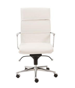 Leif High Back Office Chair In White With Chromed Steel Base