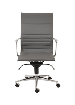 Kyler High Back Office Chair In Gray With Chromed Steel Base