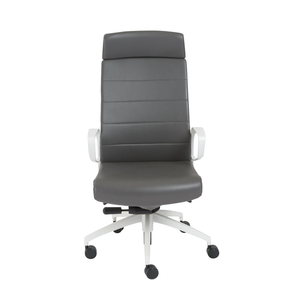 Euro style gotan powder coated high back office chair in gray with white base at contemporary furniture warehouse