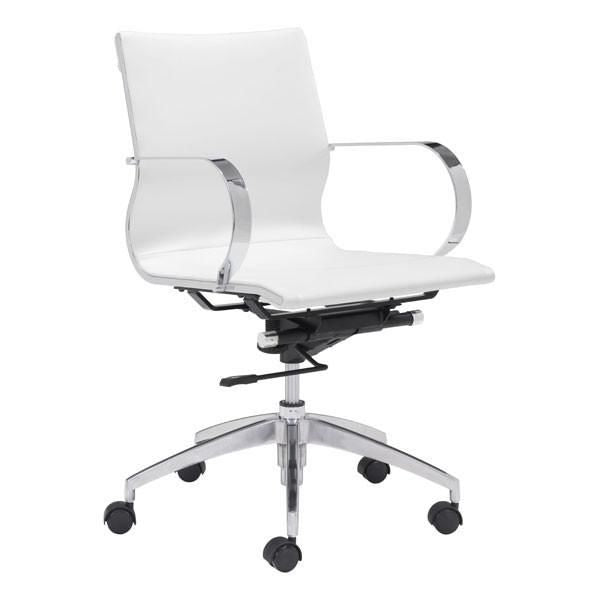 Glider Low Back Office Chair White Chromed Steel Brushed Aluminum ...