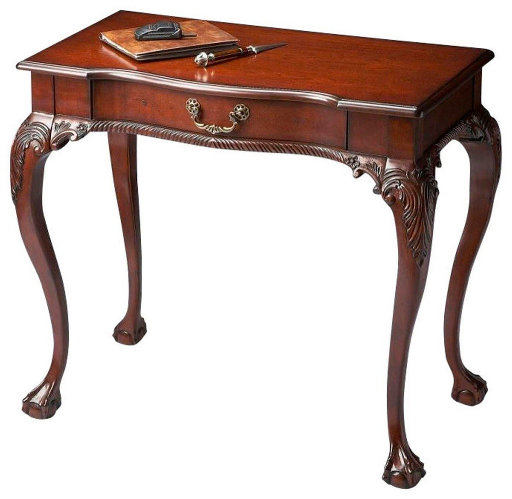 Dupree Traditional Rectangular Writing Desk Dark Brown Office