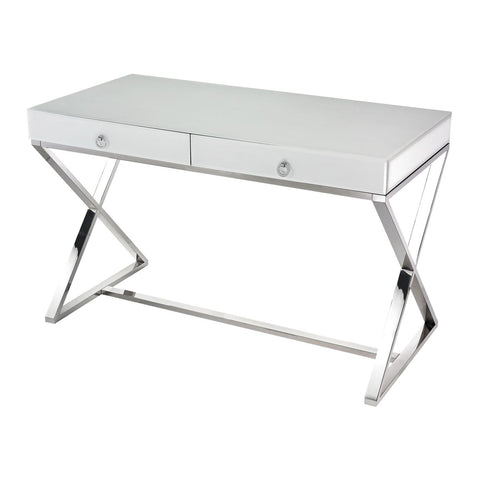 White Glass Desk White,chrome Office