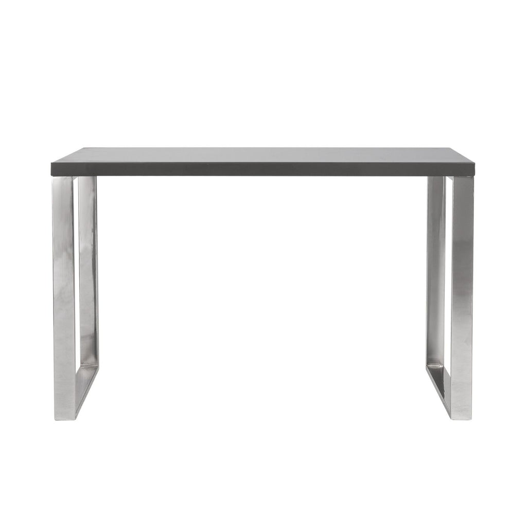 Euro Style Dillon Desk In Gray With Polished Stainless Steel Base At