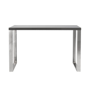 Dillon Desk In Gray With Polished Stainless Steel Base Office