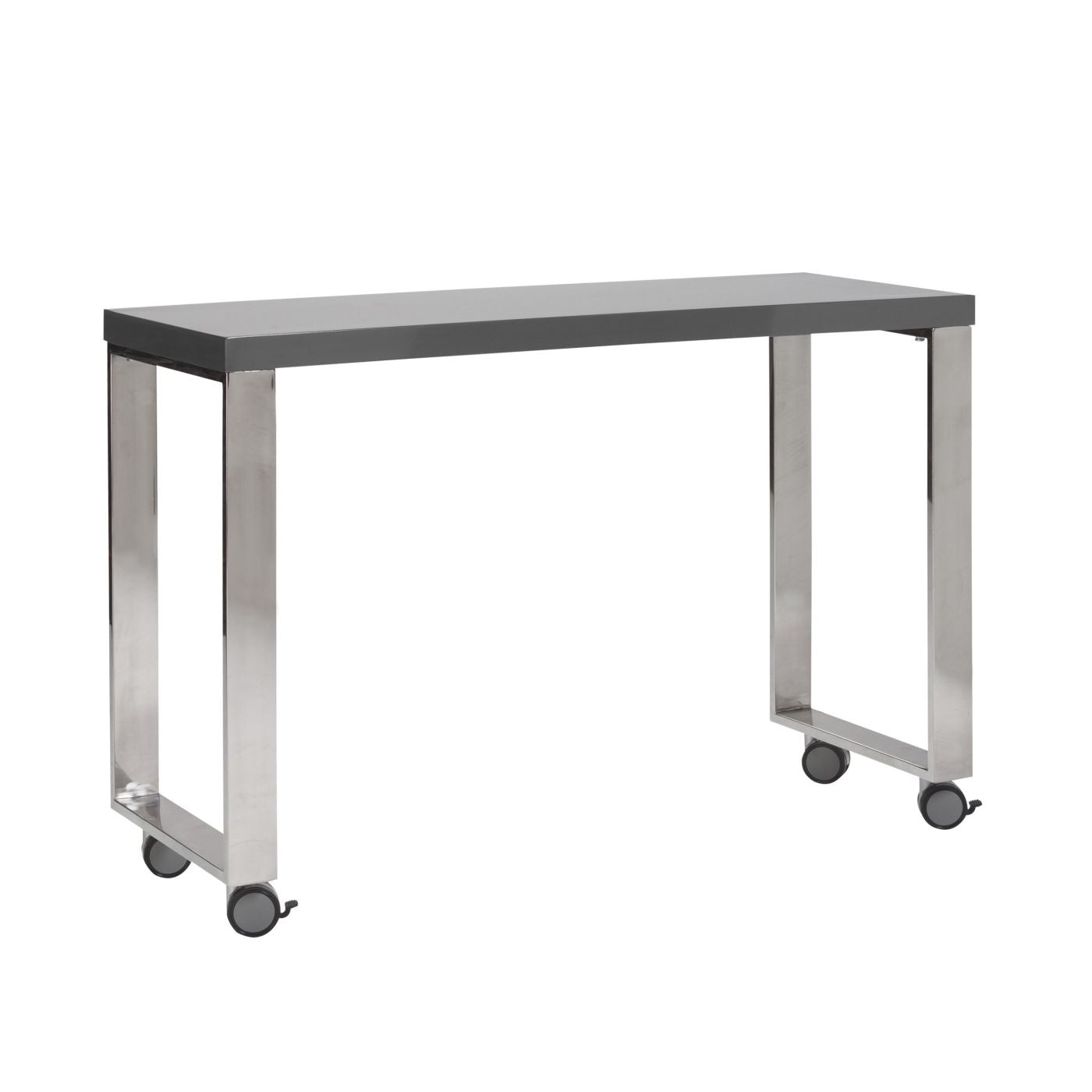 ... Dillon 40 Side Return In High Gloss Gray And Polished Stainless Steel  Office Desk ...