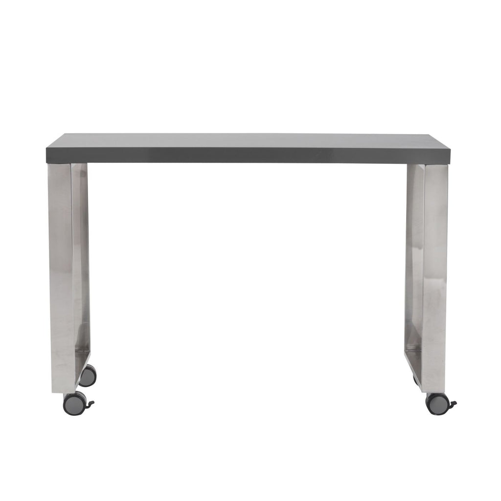 Side Table 40 Euro.Buy Euro Style Euro 09816gry Dillon 40 Side Return In High Gloss Gray And Polished Stainless Steel At Contemporary Furniture Warehouse