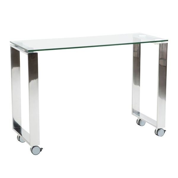 Side Table 40 Euro.Buy Euro Style Euro 09846clr Diego 40 Side Return In Clear Glass With Polished Stainless Steel Base At Contemporary Furniture Warehouse