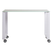 Diego 40 Side Return With Pure White Tempered Glass Top And Powder Coated Steel Base Office Desk