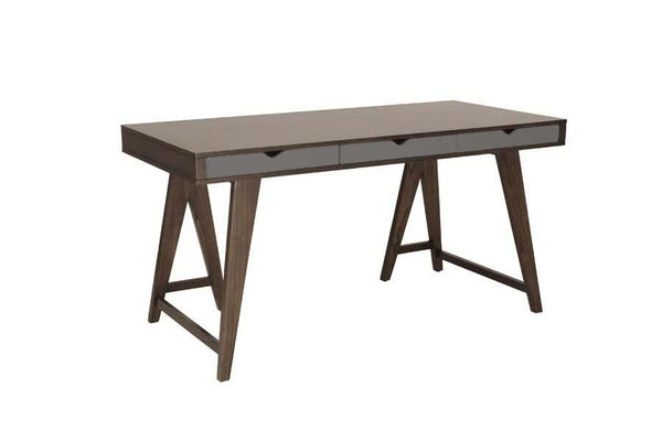 Daniel Desk In Dark Walnut With Three Gray Drawers Office