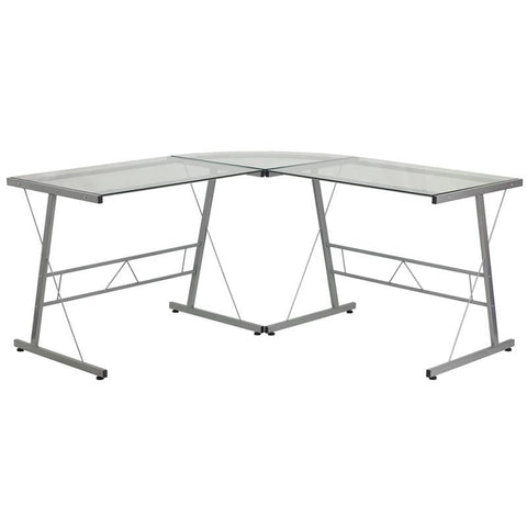 Glass L-Shape Computer Desk With Silver Frame Finish Clear Office