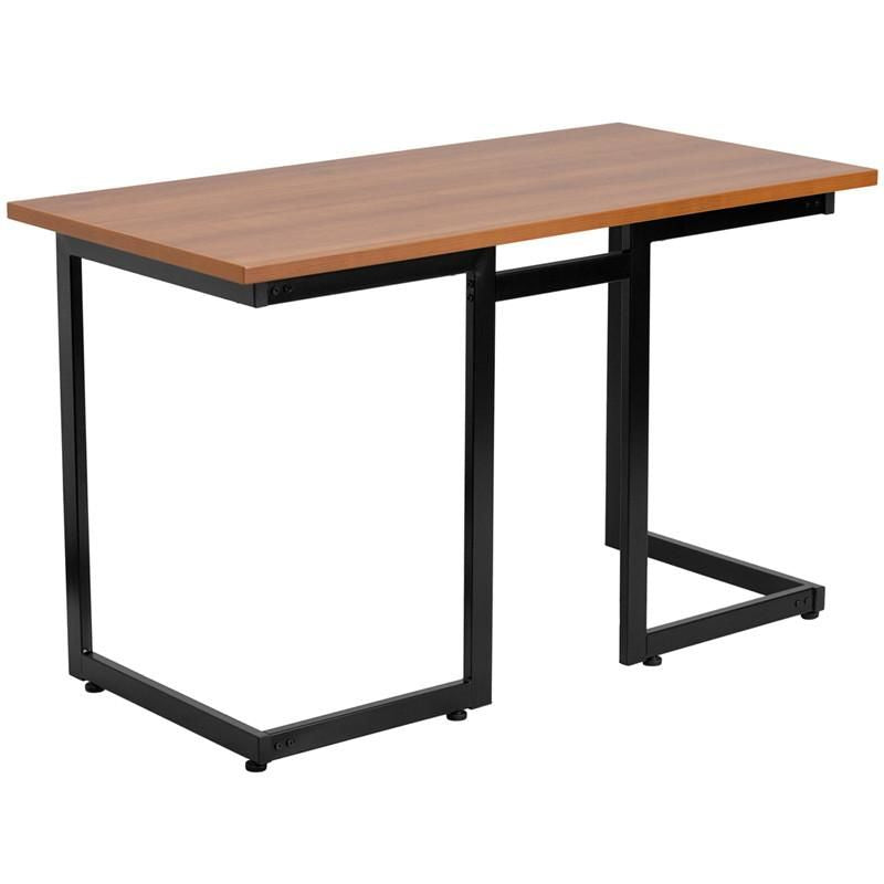 Cherry Computer Desk With Black Frame Office