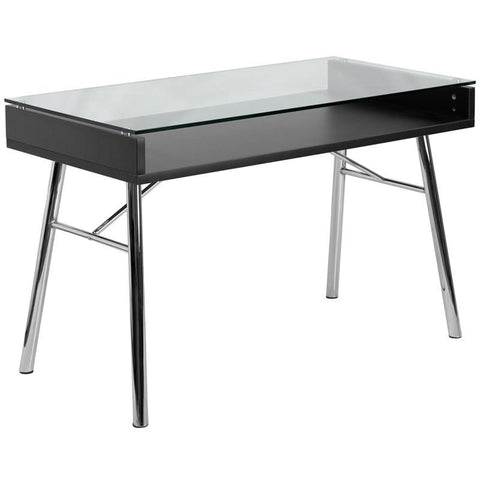 Brettford Desk With Tempered Glass Top Clear Office