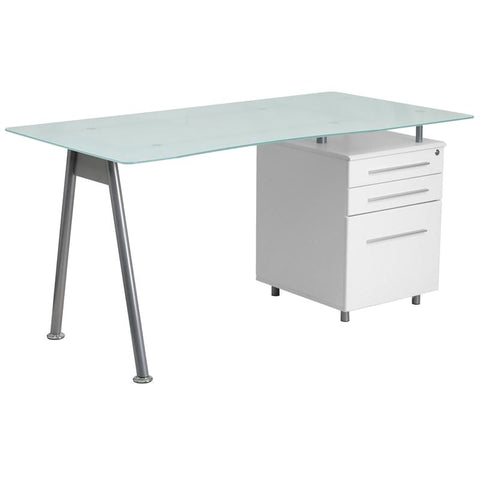 White Computer Desk With Glass Top And Three Drawer Pedestal Frost Office