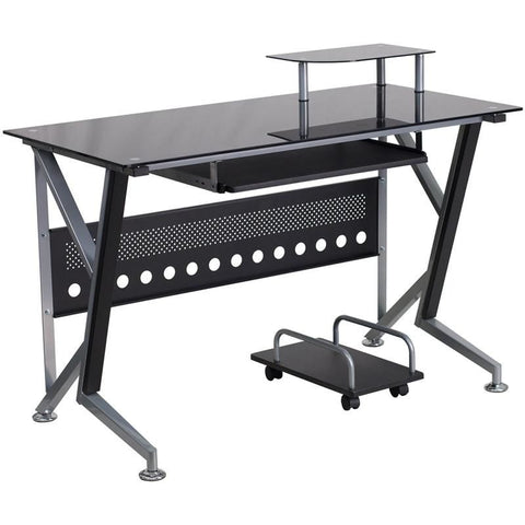 Black Glass Computer Desk With Pull-Out Keyboard Tray And Cpu Cart Black, Clear Office