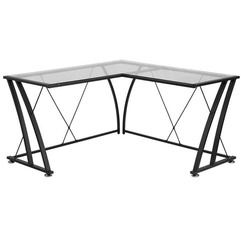 Glass L-Shape Computer Desk With Black Frame Finish Clear Office