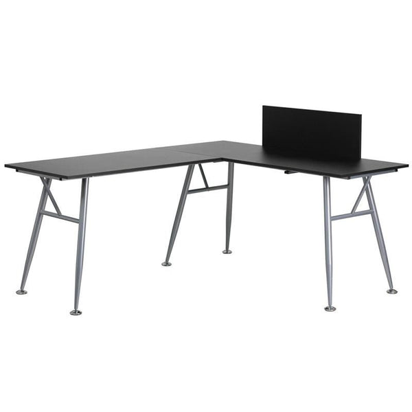 Black Laminate L-Shape Computer Desk With Silver Frame Finish Office
