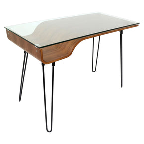 Avery Desk Walnut Clear Black Office