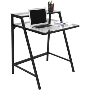 Gentil 2 Tier Desk Black Clear Office