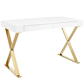 Sector Modern Office Desk White And Gold