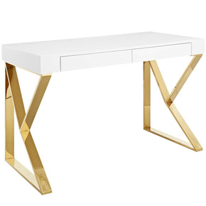 Office Desks - Modway EEI-3031-WHI Adjacent Desk High Gloss White / Gold | 889654118800 | Only $472.75. Buy today at http://www.contemporaryfurniturewarehouse.com