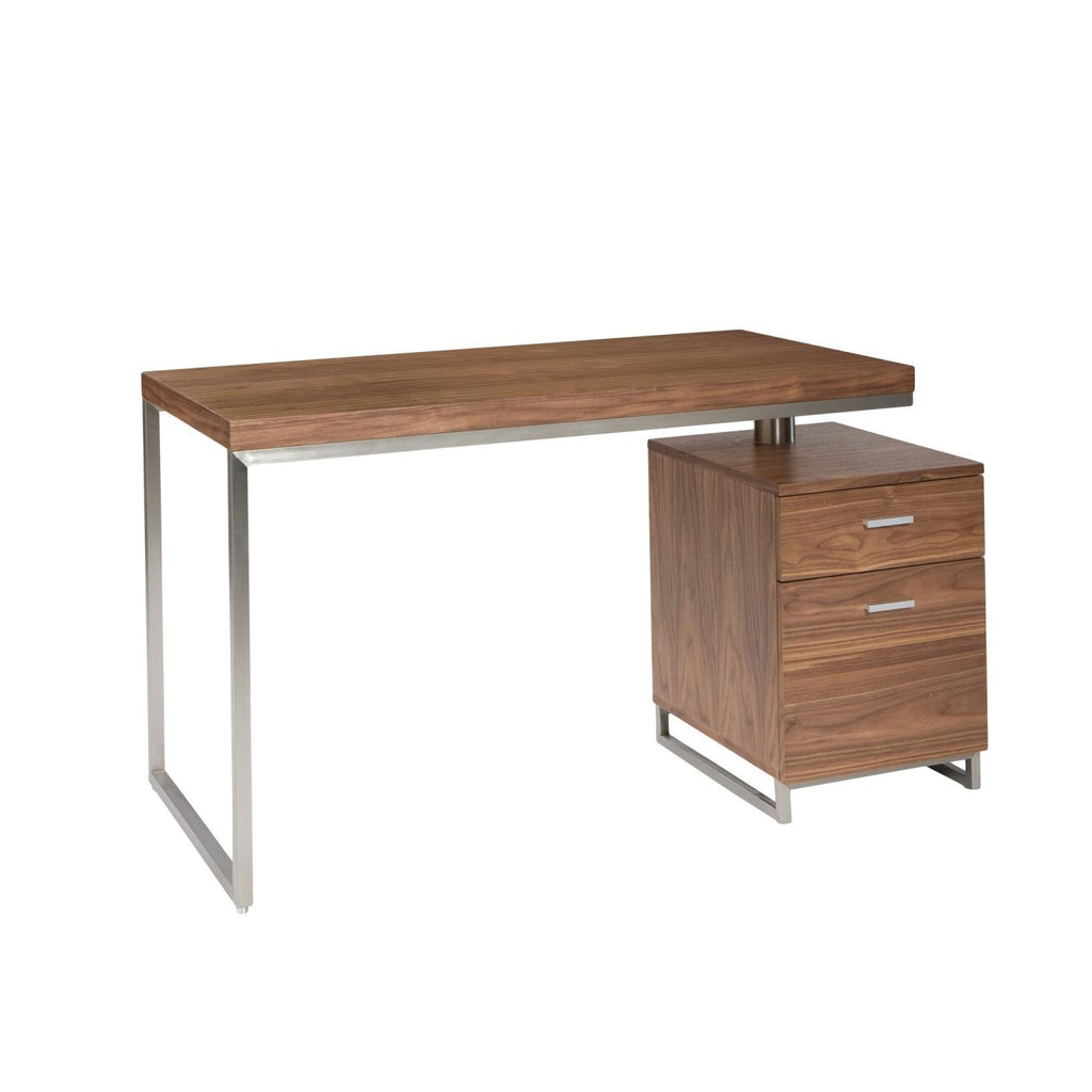 Martos Desk Walnut Wood Brushed Stainless Steel Office ...