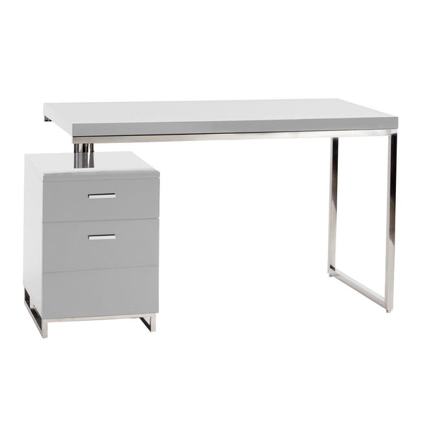 Martos Desk White Lacquered Brushed Stainless Steel Office