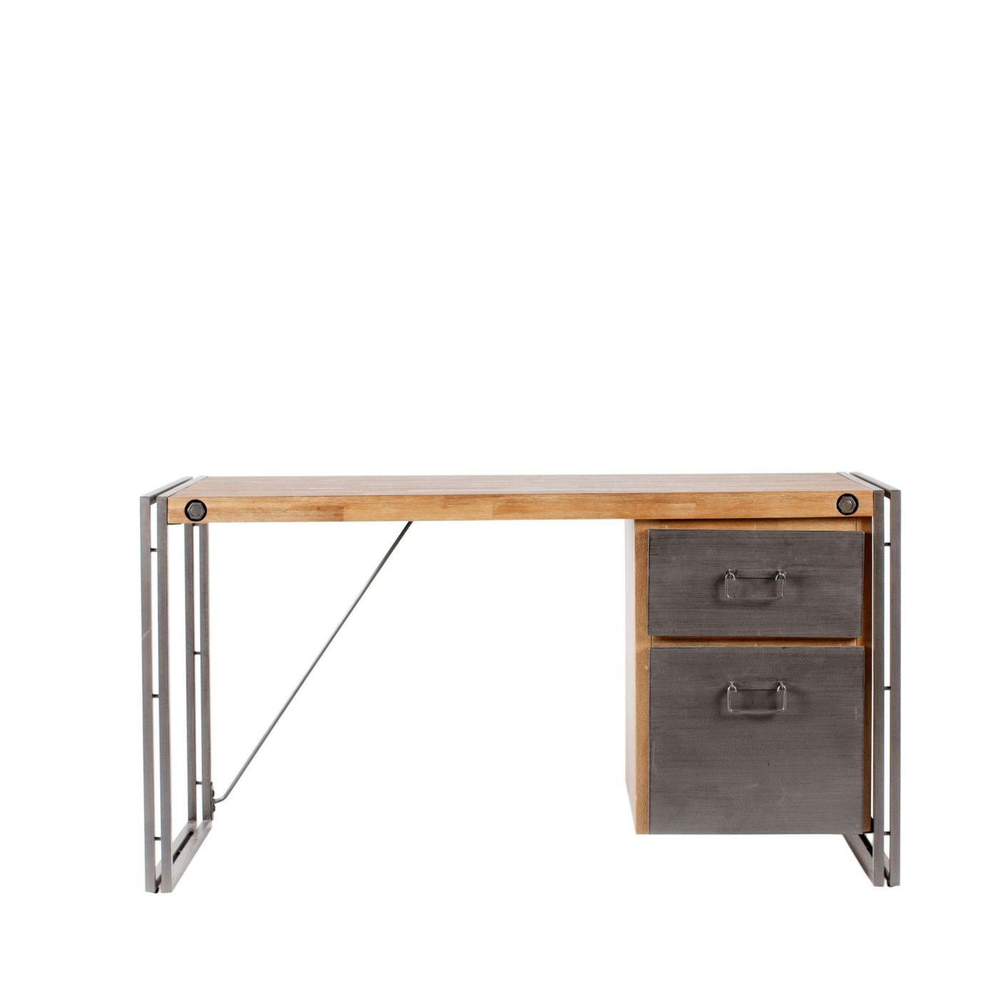 Brooklyn desk solid acacia wood powder coated steel office