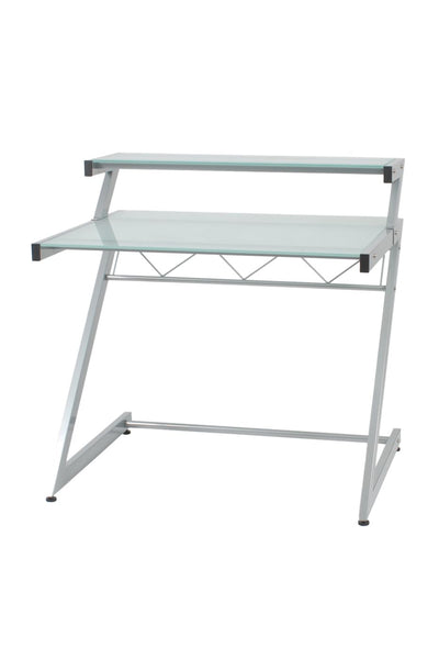 Z Deluxe 38 X 37.5 Desk With Shelf In Aluminum Frosted Glass Top Office