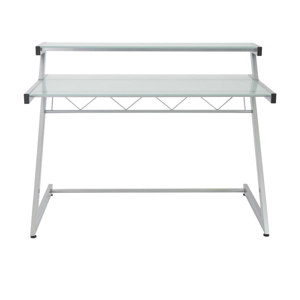 ... Z Deluxe 50 X 37.5 Desk With Shelf In Aluminum Frosted Glass Top Office  ...