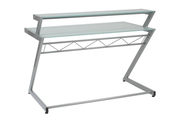 Z Deluxe 50 X 37.5 Desk With Shelf In Aluminum Frosted Glass Top Office