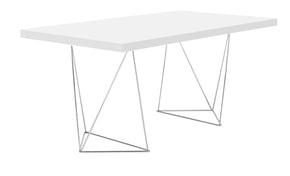 "Office Desks - TemaHome 9500.611230 Multi 63"" Table Top W/ Trestles Pure White / Chrome 